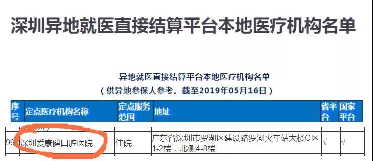 深圳爱康健口腔医院跨省异地医保报销