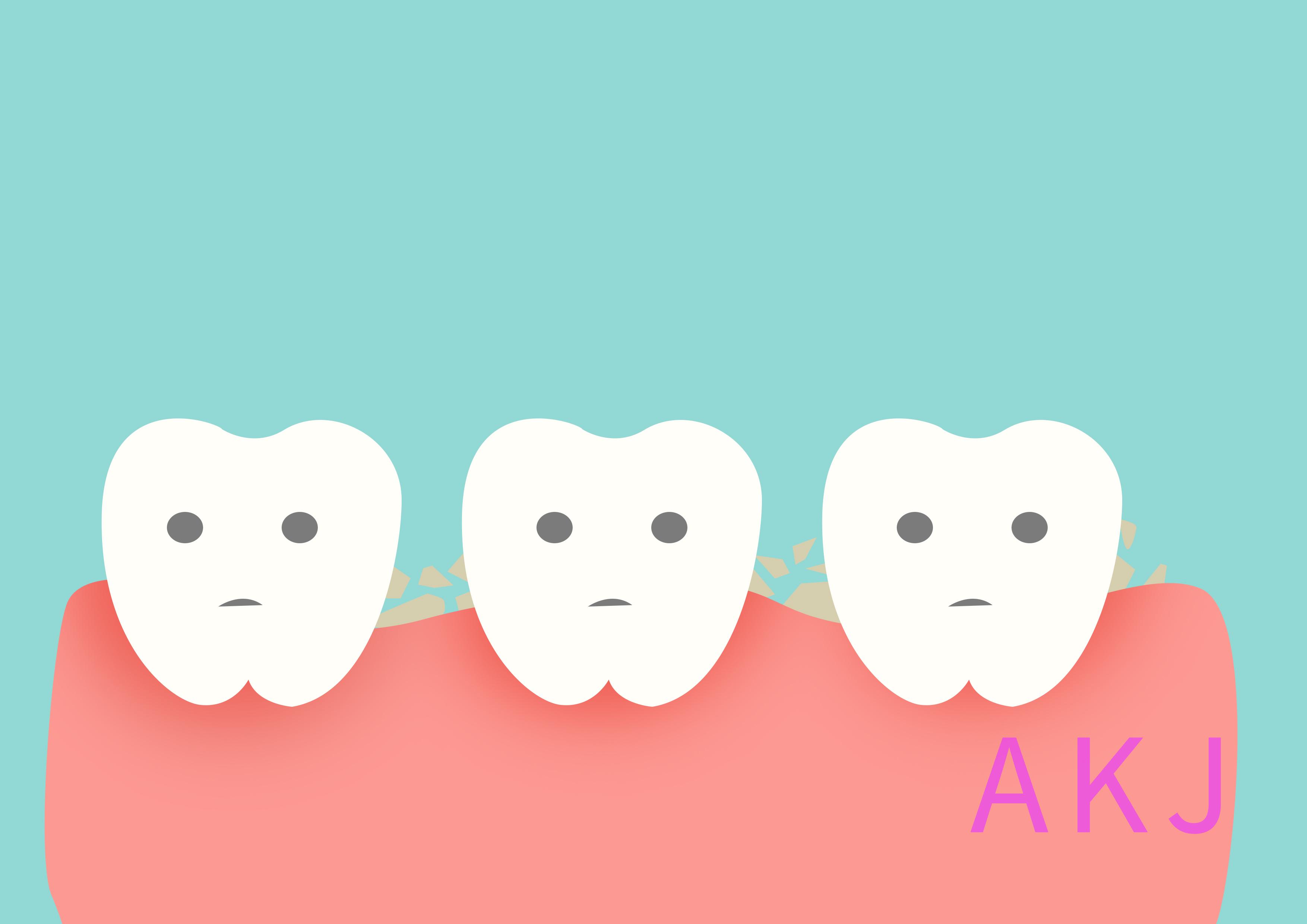 牙缝变大,容易积累牙垢