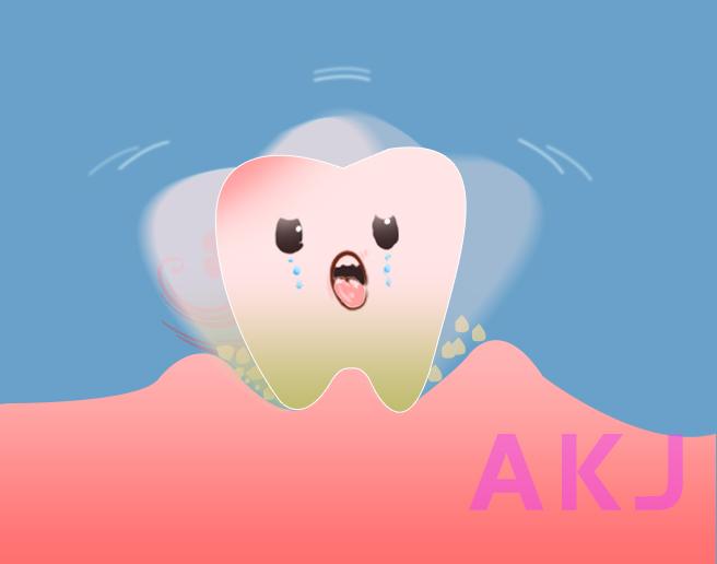 牙齿松动示意图片